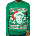 Ugly Christmas Santa Letter Printed Long Sleeve Slim Fit Green Pullover Sweater