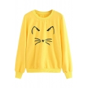Girls' Cute Long Sleeve Crew Neck Kitty Print Loose Fit Daily Pullover Sweatshirt