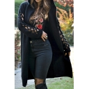 Female Basic Fancy Long Sleeve Hooded Hollow Out Oversize Midi Plain Knit Cardigan