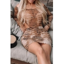 Ladies Sexy Brown Snakeskin Pattern Long Sleeve Off Shoulder Bodysuit with Mini Skirt Co-ords