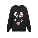 Girls' Cool Daily Long Sleeve Crew Neck Reindeer Printed Baggy Pullover Sweatshirt in Black