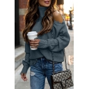 Trendy Elegant Ladies' Long Sleeve Turtleneck Cut Out Ripped Tassel Plain Purl-Knit Baggy Pullover Sweater