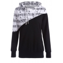 Fashionable Note Pattern Colorblock Patch Long Sleeve Pullover Hoodie for Women