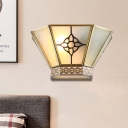 Retro Conical Wall Sconce 1 Light Frosted Glass White Wall Mount Lighting with Gold Twisting Pattern