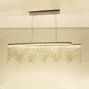 Silver Beaded Over Island Lighting Contemporary LED Crystal Hanging Chandelier for Dining Room
