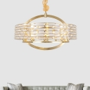 Crystal Round Chandelier Lamp Modernism 6/8/10 Bulbs Brass Hanging Ceiling Light for Living Room