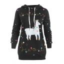 Lovely Cartoon Llama Christmas Lights Printed Long Sleeve Casual Pullover Hoodie