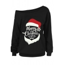 Funny Santa Claus Letter MERRY CHRISTMAS Print Long Sleeve One Shoulder Oversized Sweatshirt