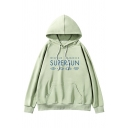 New Trendy Letter SUPERSUN Printed Long Sleeve Green Loose Drawstring Hoodie