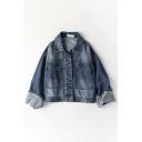 Denim Blue Street Bell Sleeve Lapel Collar Button Down Pockets Decoration Bleach Relaxed Denim Jacket for Women