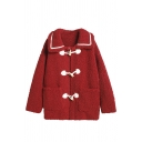 Maroon Pretty Long Sleeve Exaggerate Collar Pockets Contrasted Sherpa Baggy Duffle Jacket for Girls