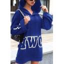Creative Letter POWER Printed Long Sleeve Casual Tunic Hoodie Mini Dress