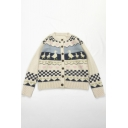 Girls Cute Plaid Triangle Duck Pattern Long Sleeves Button-Up Beige Knit Cardigan Coat