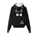 Girls' Cute Kawaii Long Sleeve Pompom Drawstring Kitty Cat Paw Print Large Pocket Baggy Cat Ear Hoodie
