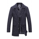 Mens Casual Solid Color Notched Lapel Single Breasted Flap Pocket Longline Woolen Coat