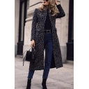 Elegant Ladies' Long Sleeve Turn Down Collar Flap Pockets Leopard Printed Maxi Fitted Coat in Black