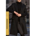 British Style Whole Colored Long Sleeves Single Breasted Longline Woolen Overcoat