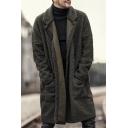 Mens Classic Plain Long Sleeve Open Front Longline Faux Fur Coat with Pocket