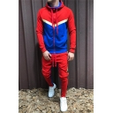 Guys Popular Contrast Panel Zip Up Thick Drawstring Sport Hoodie with Pants