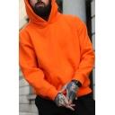 Mens Street Wear Plain Long Sleeve Drop Shoulder Oversized Pullover Hoodie