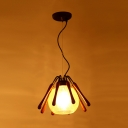1 Light Conical Pendant Lamp Rustic Brown Wood Suspended Lighting Fixture with Global Cracked Glass Shade