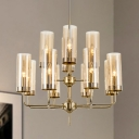 12 Heads Dining Room Chandelier Lamp Postmodern Gold Hanging Ceiling Light with Cylinder Blue/Cognac Glass Shade