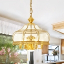 Gold 7 Heads Chandelier Lighting Colonialism Clear Glass Dome Pendant Ceiling Light for Dining Room