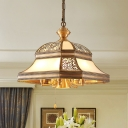 Gold 5 Heads Chandelier Lighting Colonialism Opal Handblown Glass Flared Pendant Ceiling Light for Bedroom