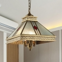 Seeded Glass Gold Chandelier Pyramid 3 Lights Traditionalism Down Lighting Pendant for Bedroom