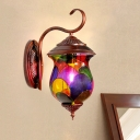 Antique Copper 1 Head Wall Sconce Moroccan Stained Glass Urn Wall Light for Living Room