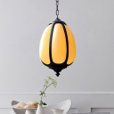 Traditionalist Pumpkin Hanging Pendant 1 Head White Glass Suspended Lighting Fixture for Courtyard, 8