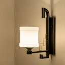 Metal Black Wall Mount Lighting Cylinder 1 Bulb Traditionalism Flush Wall Sconce with Fabric Shade