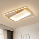 Minimalist Rectangle Acrylic Ceiling Lamp LED Flush Mount Light Fixture in White