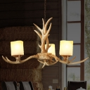 Resin Branch Chandelier Lamp Traditionary 3/6 Heads Ceiling Hanging Light in Brown with Cylinder Frosted Glass Shade