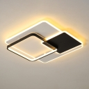 Square Ceiling Mount Fixture Modern Acrylic Black and White LED Flush Light in Warm/White Light, 18