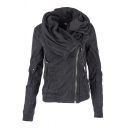 Unique Women's Long Sleeve Cowl Neck Hooded Zipper Front Pockets Side Asymmetric Plain Loose Jacket
