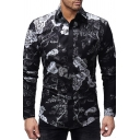Vintage Floral Printed Long Sleeve Single Breasted Slim Fit Black Leisure Shirt
