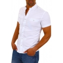 Mens Summer Stylish Plain Short Sleeve Button Front Pleated Detail Fitted Shirt