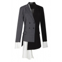 Unique Fashion Women's Long Sleeve Notch Lapel Collar Double Breasted Contrasted Ruffled Trim Patched Asymmetric Fitted Blazer in Black
