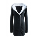 Simple Warm Long Sleeve Hooded Zipper Front Shearling Liner Slim Fit Midi Plain Coat for Women