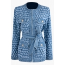 Fashion Blue Long Sleeve Crew Neck Hook and Eye Bow Tie Waist Floral Printed Flap Pockets Fitted Denim Jacket for Girls