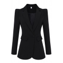 Formal Women's Long Sleeve Notch Lapel Collar Button Front Flap Pockets Slim Fit Blazer in Black