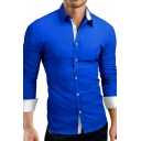Stylish Colorblocked Panel Long Sleeve Turndown Collar Slim Fit Daily Shirt for Men