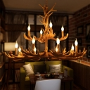 Deer Antler Living Room Chandelier Light Rustic Resin 12 Bulbs Brown Hanging Light Kit