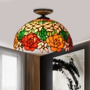 Flower Ceiling Flush Tiffany-Style Stained Art Glass 1 Head Black/Yellow Flush Mount Lighting Fixture