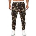 Guys Popular Camouflage Printed Drawstring Waist Cotton Blend Cargo Pants