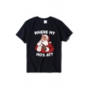 Fashion Short Sleeve Crew Neck WHERE MY HO'S AT Letter Santa Claus Pattern Relaxed Fit T Shirt for Women