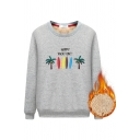 Student Girls' Classic Long Sleeve Crew Neck HAPPY VACATION Coconut Tree Pattern Sherpa Lined Relaxed Sweatshirt