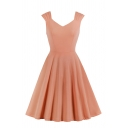 Women's Formal Plain Sleeveless V-Neck Zipper Side Ruched Midi Pleated Flared A-Line Dinner Dress