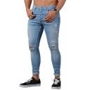 Street Casual Plain Zipper Placket Knee Cut Ripped Shredded Slim Fit Jeans for Men